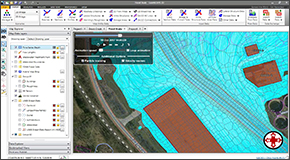 Conveyance obstructions can be assigned to the 2D mesh using polylines or polygons. Alternatively, draw conveyance obstructions on the Map View. For example, buildings and other structures can be stamped into the 2D mesh as conveyance obstructions to account for flow blockage. The software will automatically refine the 2D flow area to incorporate the conveyance obstruction shape.