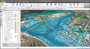 Generate floodplain and floodway mapping from HEC-RAS results and 3D digital elevation terrain data. Export results directly to AutoCAD (including AutoCAD Civil 3D and Map 3D), Bentley MicroStation, and ESRI ArcGIS, as well as publish to PDF.